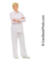 Happy senior woman isolated