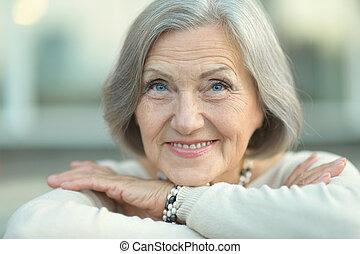 Happy Senior woman - Portrait of a happy Senior woman in...