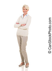 senior woman with arms crossed - happy senior woman with...