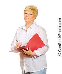 Happy senior woman with folder