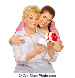 Happy senior woman with her daughter