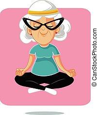 Happy Senior Yoga Granny in Lotus Pose
