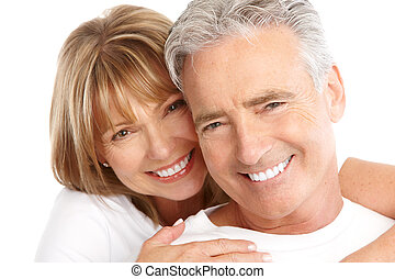 seniors couple - Happy seniors couple in love. Healthy teeth...