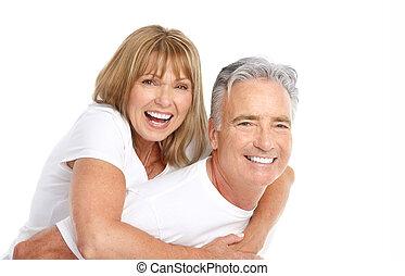 seniors couple - Happy seniors couple in love. Healthy teeth...
