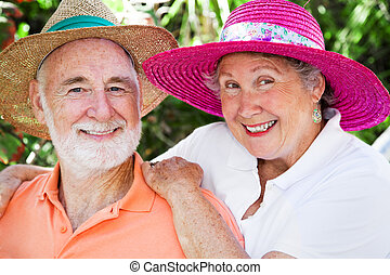 Happy Seniors in Hats