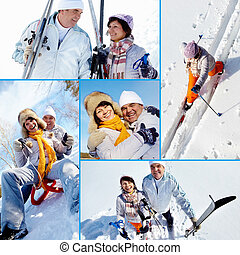 Happy seniors in winter