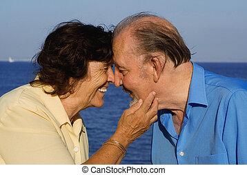 happy seniors, senior couple on vacation