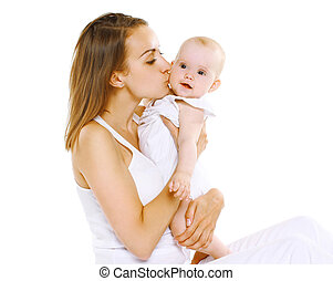 Happy sensual mother and baby