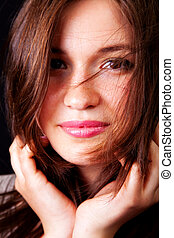 Happy sensual woman with nice lips and hair