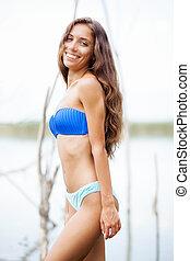 happy sexy girl in bikini
