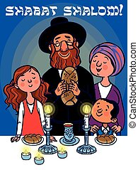 Happy shabat greeting card. Vector illustration - Happy...