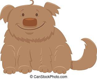 happy shaggy dog cartoon character - Cartoon Illustration of...