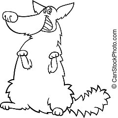 happy shaggy dog cartoon for coloring book