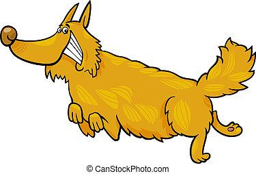 happy shaggy running dog - Cartoon Illustration of Funny...