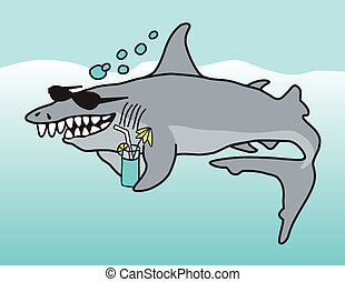 Happy Shark - A cartoon illustration of a grinning shark...