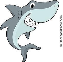 happy shark - vector illustration of friendly shark isolated...
