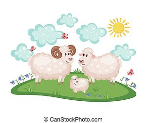 Happy sheep family. father, mother and baby.