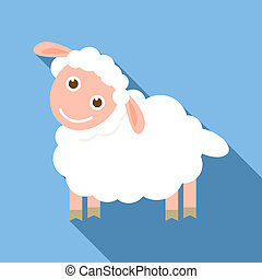 Happy sheep icon, flat style