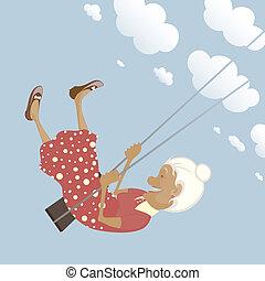 Happy shildish granny on the swing - EPS8 layered vector...