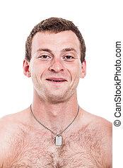 Happy shirtless man