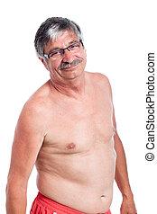 Happy shirtless senior man
