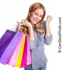 Happy shopper girl