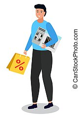 Happy Shopper Holding Bag and Oven in Hands Vector