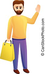 Happy shopper man icon, cartoon style