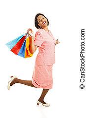 Happy Shopper Skipping