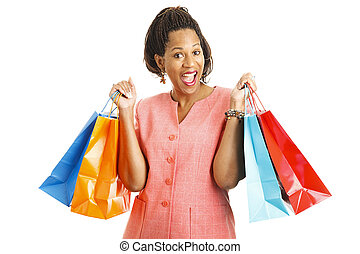 Happy Shopper with Bargains