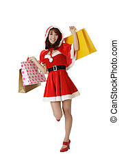 Happy shopping Christmas woman