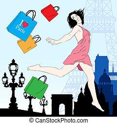 Happy shopping  in Paris vector illustration