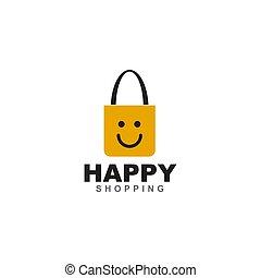 Happy shopping logo design with bag icon