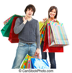 Happy shopping people