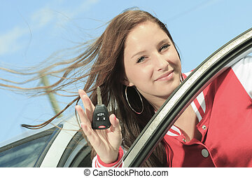 happy showing car keys