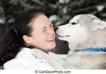 happy siberian husky owner with dog - happy positive ...