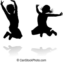 Happy Silhouette Kids Jumping - Happy boy and girl...