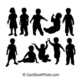 Happy Silhouette Kids Plying Activity, art vector design
