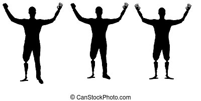 Happy silhouette three disabled man with prosthetic hands and feet.