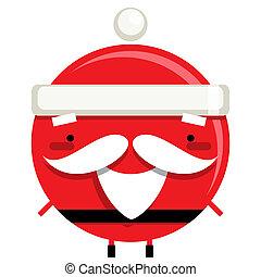 Happy simple smiling Santa Claus cartoon character