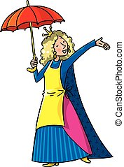 Happy singing woman in crown with umbrella