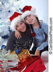 Happy sisters festive surprise