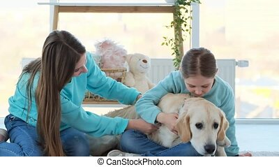 Happy sisters palming adorable dog in light room