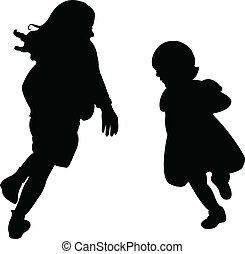 happy sisters playing, silhouette v