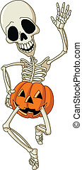 Happy dancing skeleton wearing a pumpkin