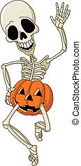 Happy skeleton - Happy dancing skeleton wearing a pumpkin