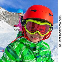 Happy skier boy.
