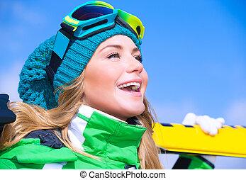Happy skier girl