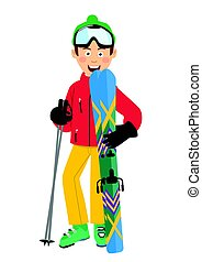 Happy skier wearing red jacket, green hat and goggles holding skis and poles standing over white background