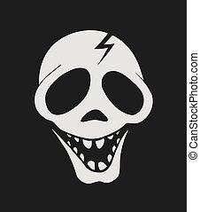 happy skull face draw